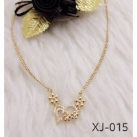 Kalung Xuping Double Mrica Liontin Love Batu Sirkon Gold Jewelry