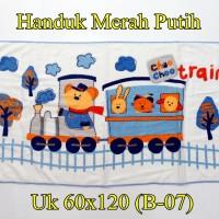 Handuk Merah Putih Anak Uk 60x120 Train Biru (B-07)