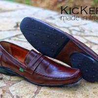 Sepatu pantofel kulit kickers 07 coklat sepatu kerja sepatu kantor