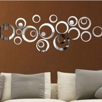 Jual Hiasan Dinding lingkaran motif cermin ( 1 set 24 pcs) Murah