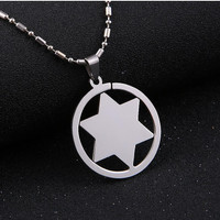 Men Necklace Silver Tone Stainless Steel Star Of David Charm Pendant