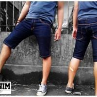 Celana Jeans Pendek Blue Wash / Jeans Slimfit / Jeans Pendek Pria Biru
