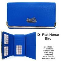 dompet wanita kulit taiga herms plat horse biru