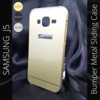 Samsung Galaxy J5 Bumper Metal Case Sliding Cover J 5 Aksesoris
