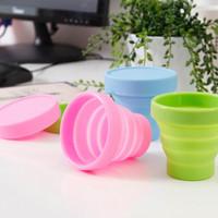 Gelas Mug plastik portable bisa di lipat warna-warni polos - HHM118