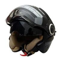harga Helm Snail Retro Pilot 622 Hitam Black Half Face Tokopedia.com