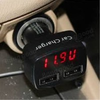 Charger Mobil Dual Usb with Led Display .
