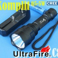 Senter Led Cree Q5 Fokus 5mode Asli Ultrafire