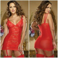 lingerie murah sexy lace red with garterbelt