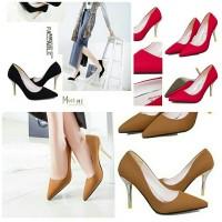 harga Sepatu import black red yellow lancip merah bludru suede heels 9 cm Tokopedia.com