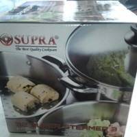 SUPRA SUPER STEAMER W / Glass Lid 3 SUSUN 32cm Stainless Dgn Tutup Kaca