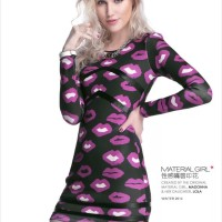 YY21689 - MATERIAL GIRL Sexy Purple Lips S M L Import Ice Cotton Dress