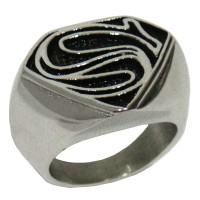 Cincin Superman Man Of Steel Logo Silver Black Superman Ring
