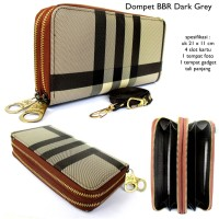 dompet wanita selempang BBR 2 zipper dark grey