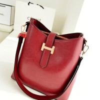 TAS BAHU SHOULDER MERAH CANTIK SELEMPANG PERGI MAL SIMPLE FASHION PU