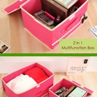 2 In 1 Multifunction Box DARKPINK 1 Set Isi 2 Box / Kotak Penyimpanan