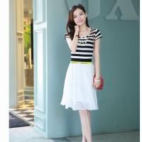 Dress Hitam Putih Garis Korean Midi Stretch Import Murah (KK D 32)