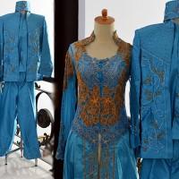 Kebaya Pengantin ekor couple nikah biru mewah set lengkap terbaru