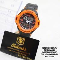 Jam Tangan Pria Dual TETONIS Original Sport Rubber Watch Orange Oranye