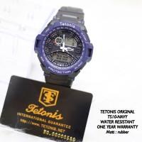 Jam Tangan Pria Dual TETONIS Original Sport Rubber Watch Biru Navy