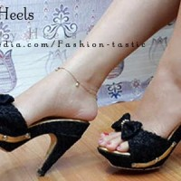 Jual High heels Murah Keren BONNY HEELS SM49 Hitam Sepatu Hak tinggi Brukat Murah
