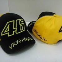 Topi motogp 46 vrfourtysix hitam valentino rossi kombinasi kuning