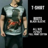 Kaos/ Tshirt Full Print Boots black sleeve import thailand