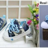 Sepatu walker anak laki-laki import kets biru denim Mickey - NEW