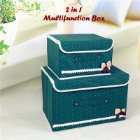 2 In 1 Multifunction Box GREEN 1 Set Isi 2 Box / Kotak Penyimpanan
