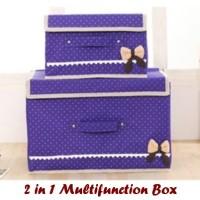 2 In 1 Multifunction Box PURPLE 1 Set Isi 2 Box / Kotak Penyimpanan