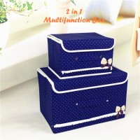 2 In 1 Multifunction Box NAVY BLUE 1 Set Isi 2 Box / Kotak Penyimpanan