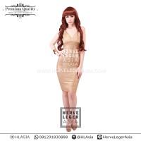 harga PREMIUM HERVE LEGER - ANGELINA VNECK GOLD - BODY CON - BANDAGE Tokopedia.com