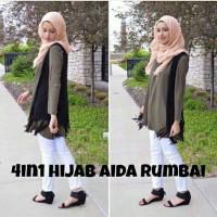 Hijab Aida Rumbai Grey (4in1)   Hijab fashion murah   Tunik   Maxi