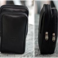 Tas pinggang sarung dompet hp 6 inch 2 kantong baris kulit korea army