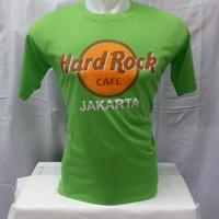 kaos hard Rock Cafe jakarta hijau bahan katun halus dan lembut