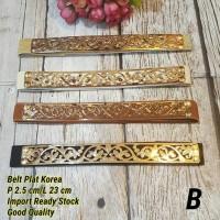 Ikat Pinggang Sabuk Belt Plat Gold Ethnic Korea Ukir Leaf BKK