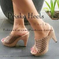 Highheels Motif laser PRISKA HEELS SM81 Sepatu Hak tinggi wanita keren