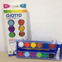 GIOTTO WATERCOLOUR PAINT SET 12 Colours & Paint Brush