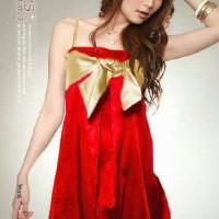 Dress korea Gaun pesta glamour red glow
