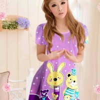 Dress Korea Daster Murah Lucu Purple Bear