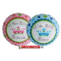 Balon Foil Bulat Crown A New Little Prince & Princess