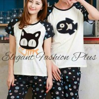 Baju Tidur Kaos Pendek Couple - Piyama Couple - Cat N Fish Black