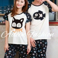 Baju Kaos Setelan Couple - Piyama Couple Cat M Fish Black