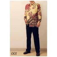 Kemeja Batik Semi Sutra Lengan Panjang Pria Modern