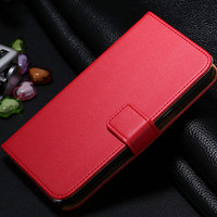 Genuine Leather Case For Samsung Galaxy Note 3 Flip Stand (Red)