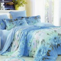 Sprei sutera tencel 200x200x30 motif bunga biru