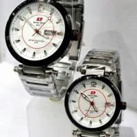 Jam Tangan Couple Swiss Army Dhc SA-3062 Original Silver White