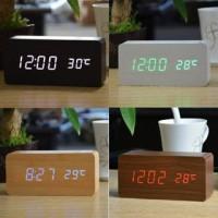 Jam Meja LED Digital Wood