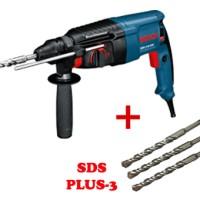 Mesin Bor Beton BOSCH GBH 2-26 DRE Rotary Hammer + 3 x Mata SDS Plus 3