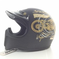 Jual Helm Cakil Hitam HBC Born To Ride Black Gold Murah
